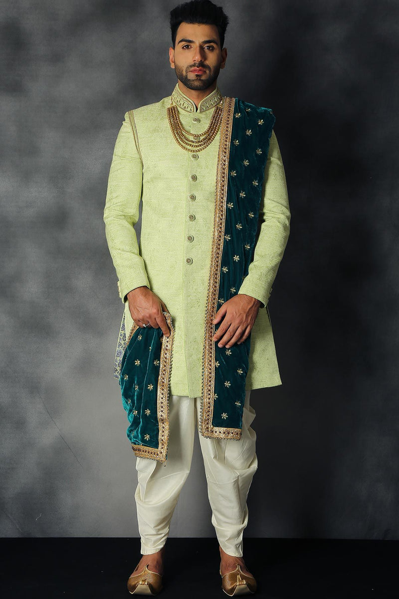 Light Green Raw Silk Zari Embroidered Indowestern Sherwani-STYLIZONE
