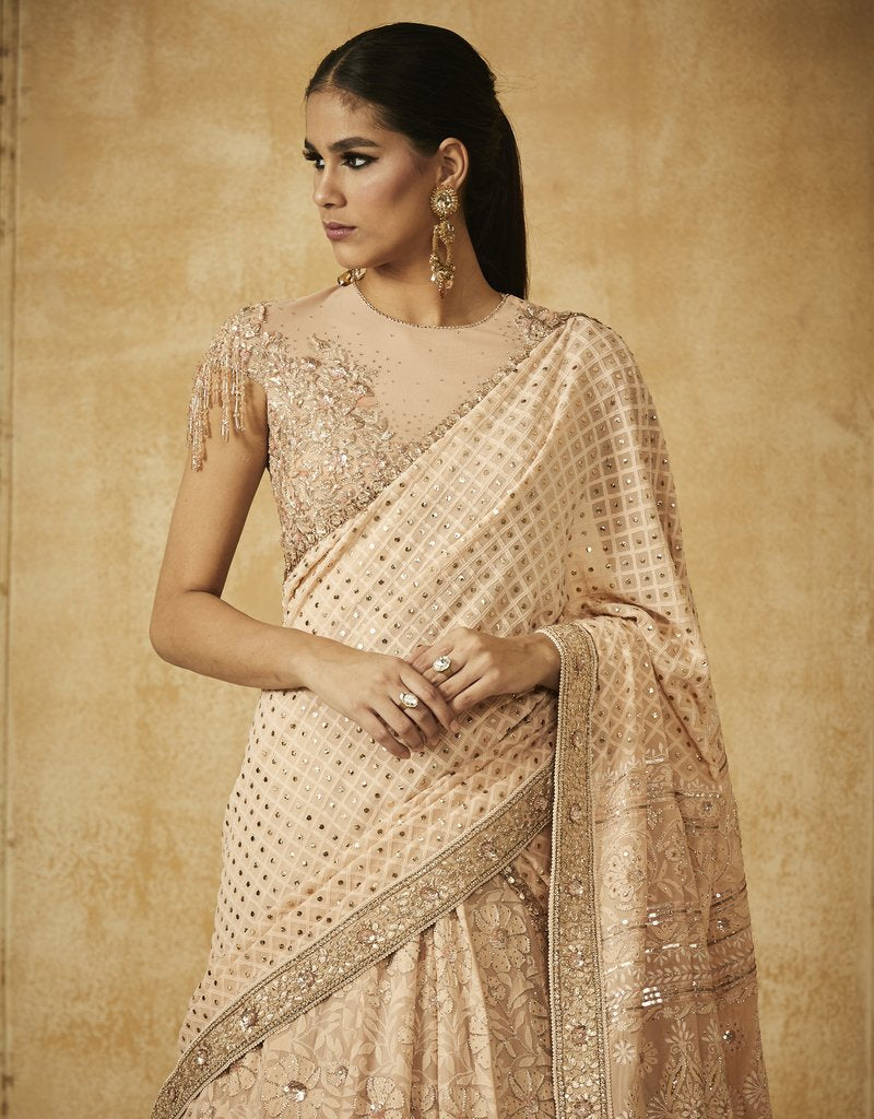 A105 Chikankari Embroidered Kalidar Lehenga With Dupatta And Blouse-STYLIZONE