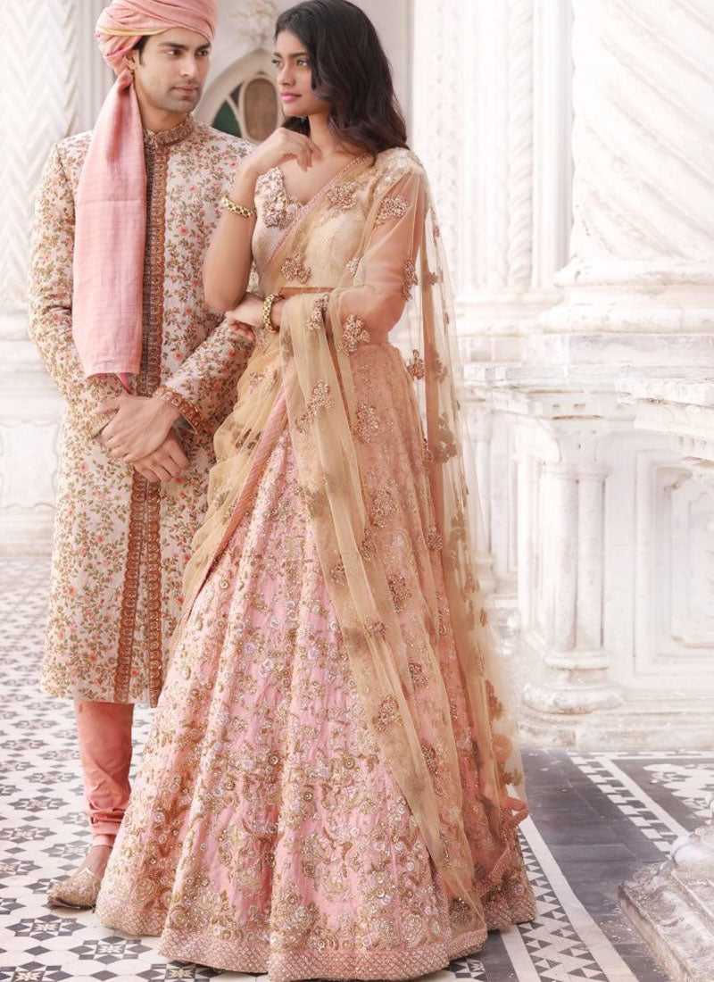 A140-Exclusive Heavy Designer Beautiful Baby Pink Color Bridal Lehenga Choli - Stylizone