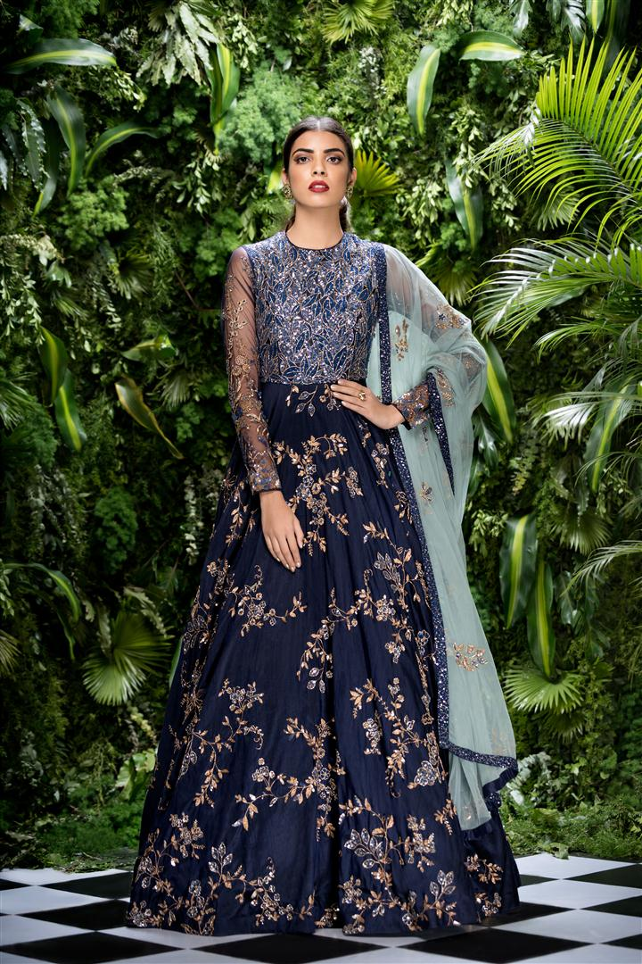 Beautiful Exclusive Designer Blue Color Designer Dress-STYLIZONE