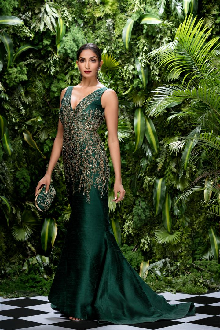 Beautiful Exclusive Designer Green Color Designer Dress-STYLIZONE