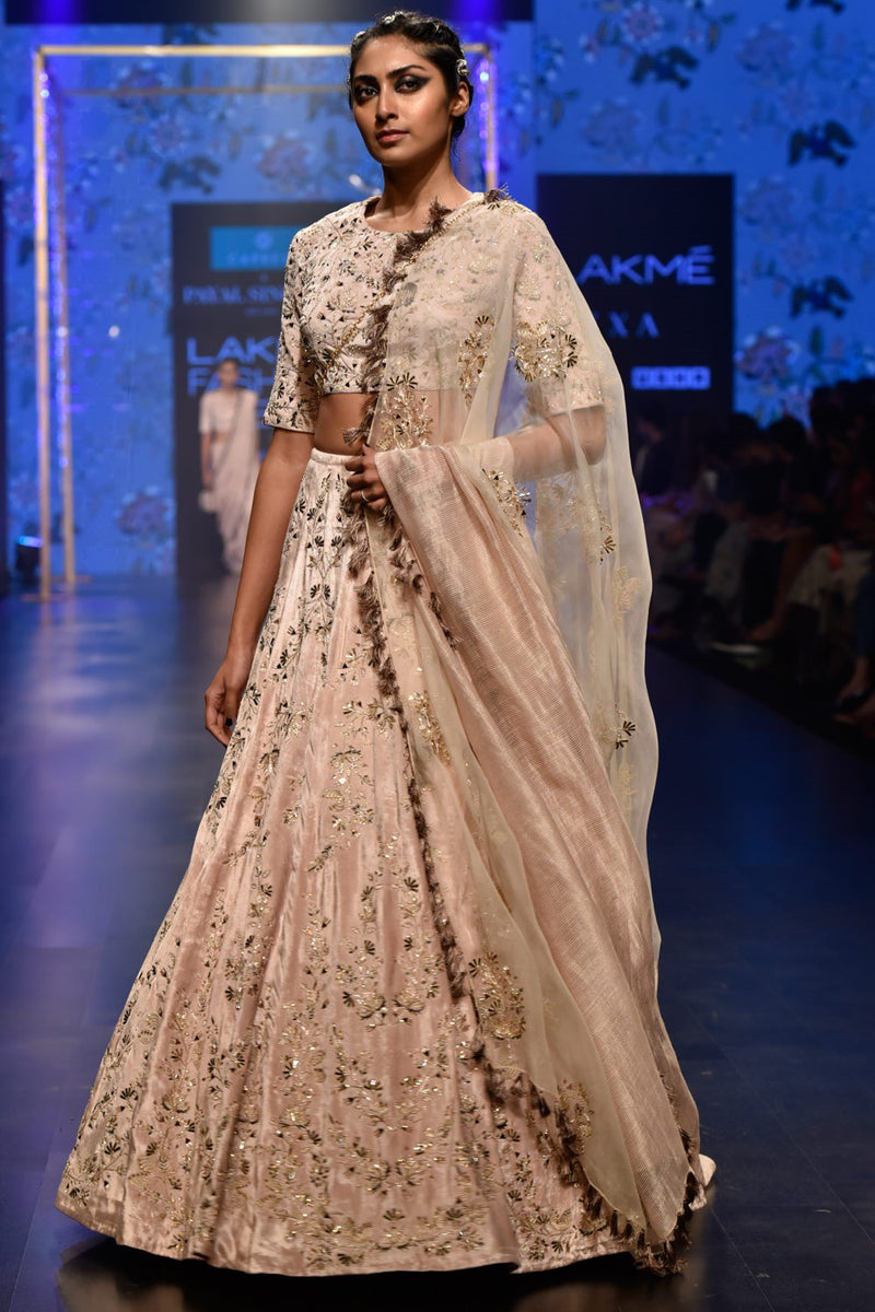 Exclusive Designer Beige embroidered lehenga set