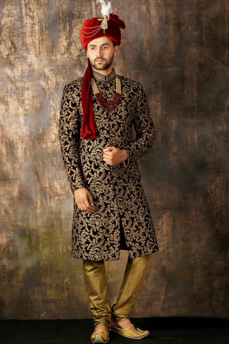 Wine Dori Embroidered Velvet Wedding Sherwani-STYLIZONE
