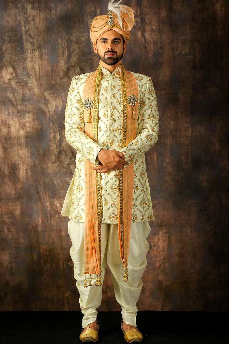 Snow White Zari Embroidered Raw Silk Wedding Sherwani-STYLIZONE