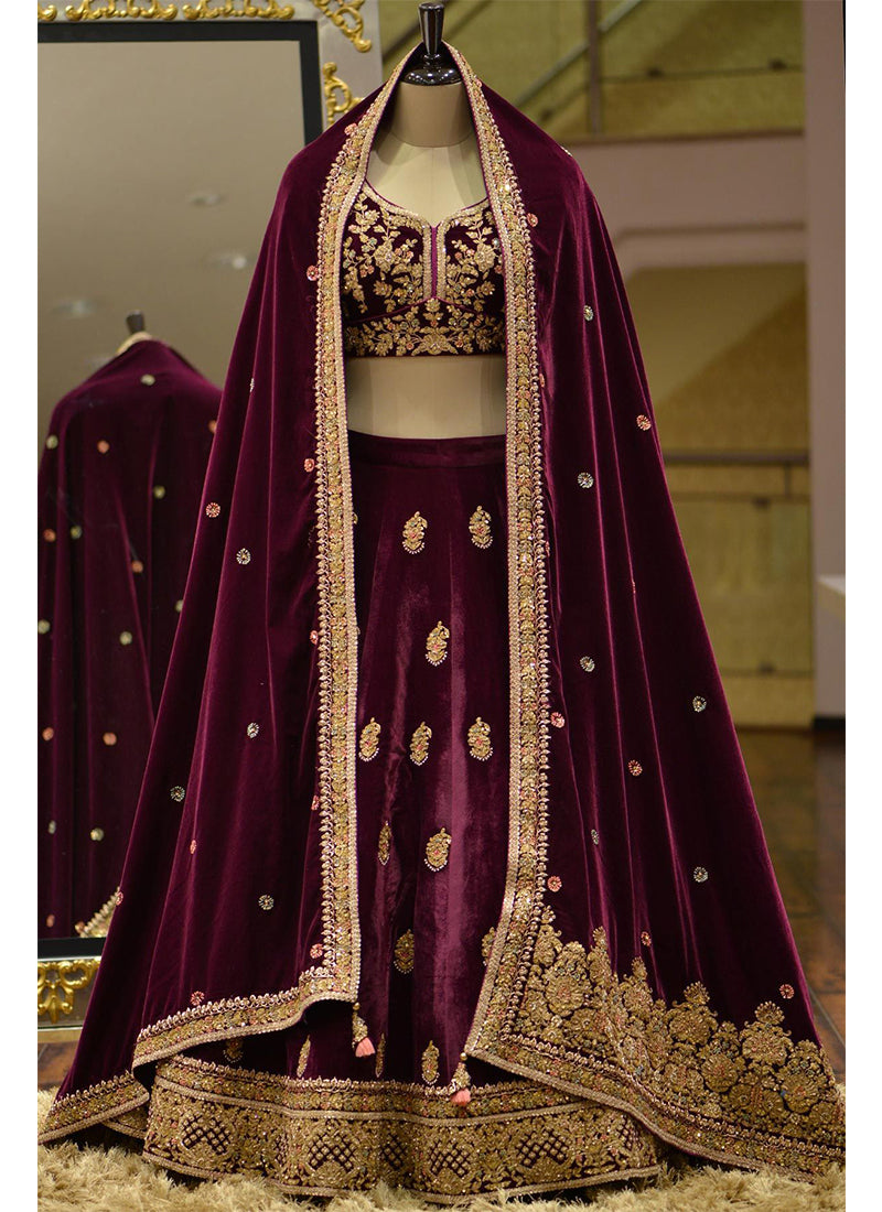 Exclusive Heavy Designer Beautiful Violet Color Bridal Lehenga Choli - Stylizone