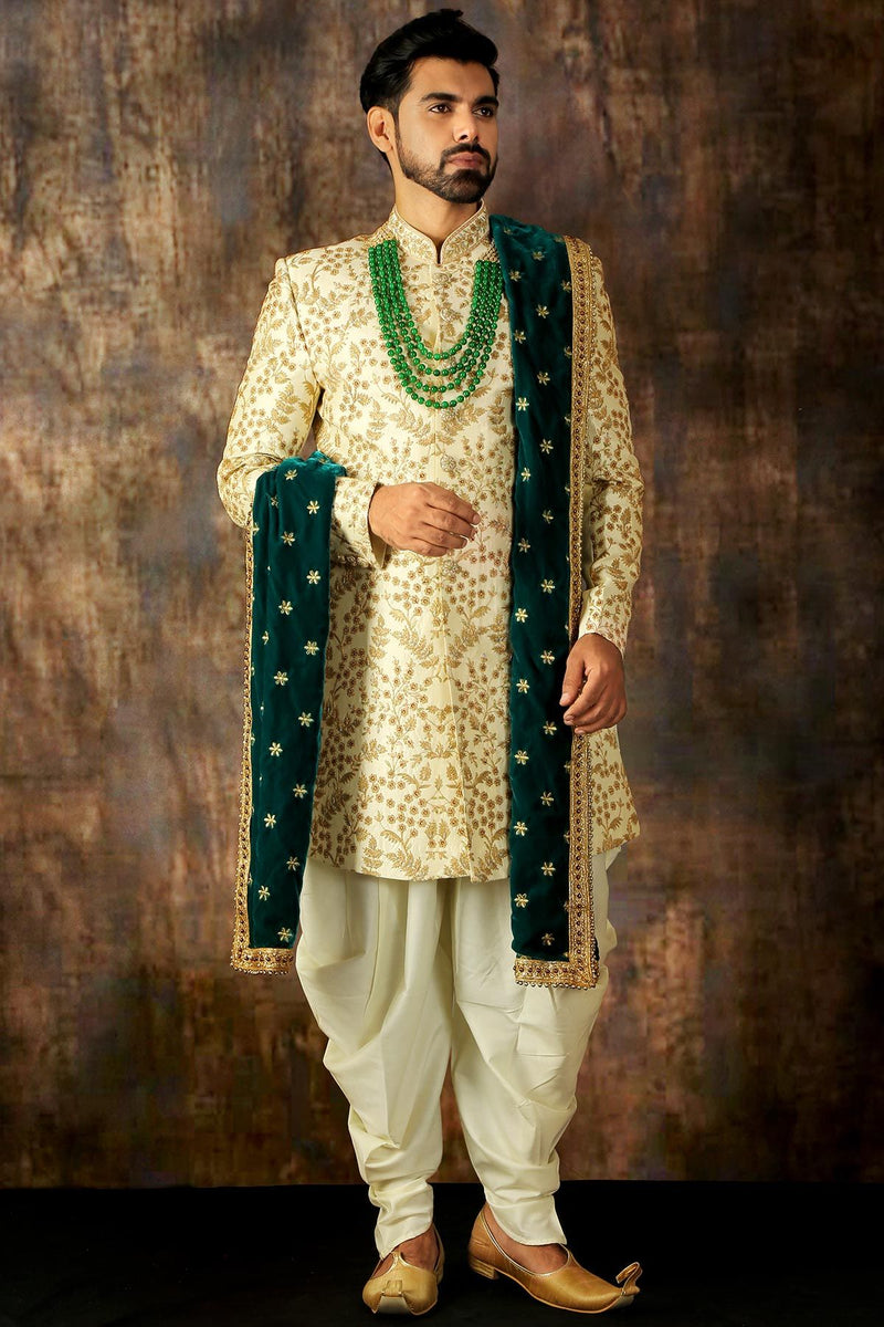 White & Gold Dori Embroidered Silk Wedding Sherwani