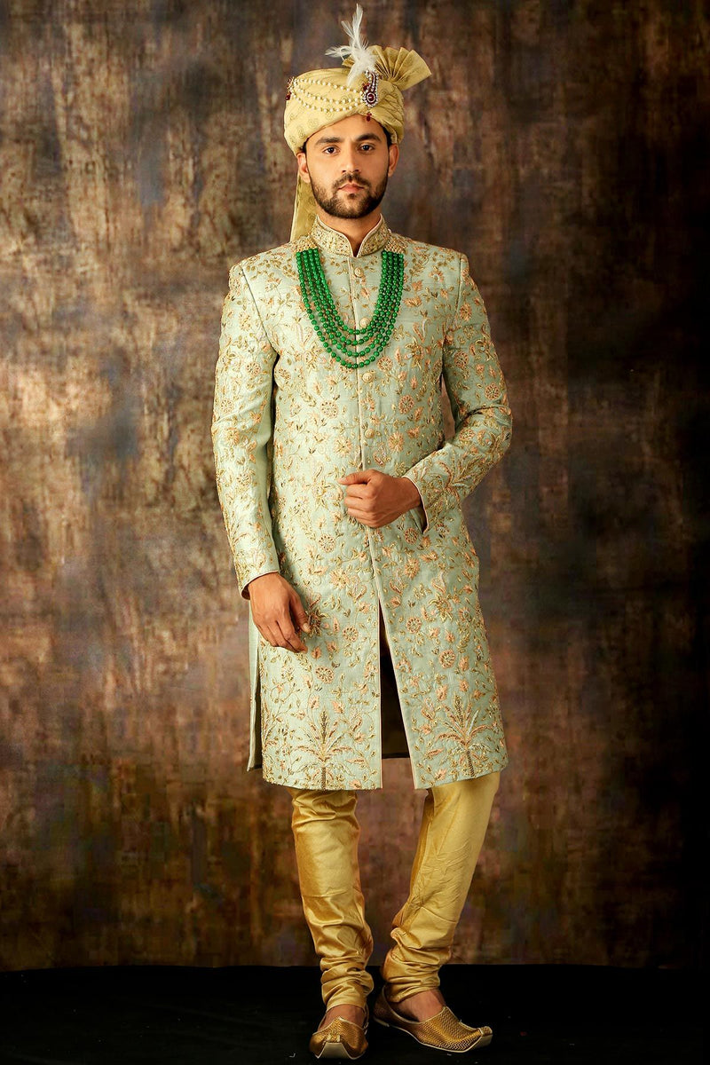 Sap Green & Gold Zari Embroidered Silk Wedding Sherwani
