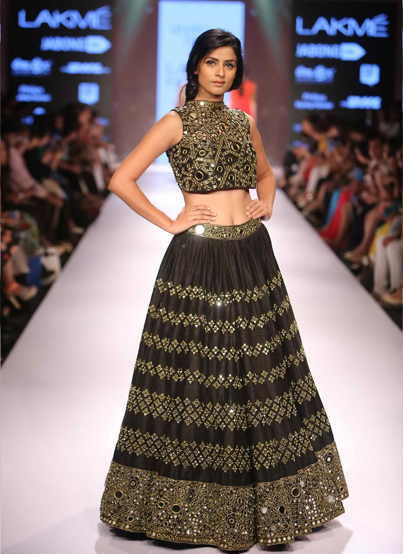 Exclusive Heavy Designer Beautiful Black Color Party Wear Lehenga Choli - Stylizone