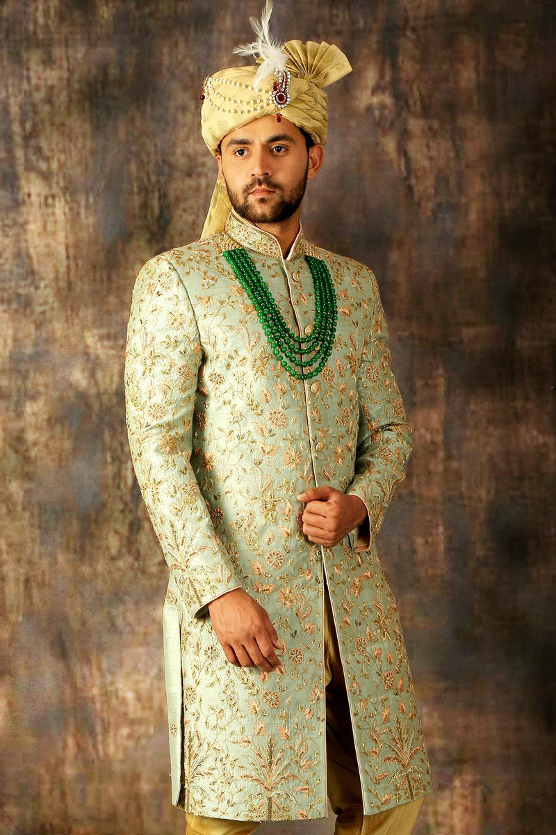 Sap Green & Gold Zari Embroidered Raw Silk Wedding Sherwani-STYLIZONE