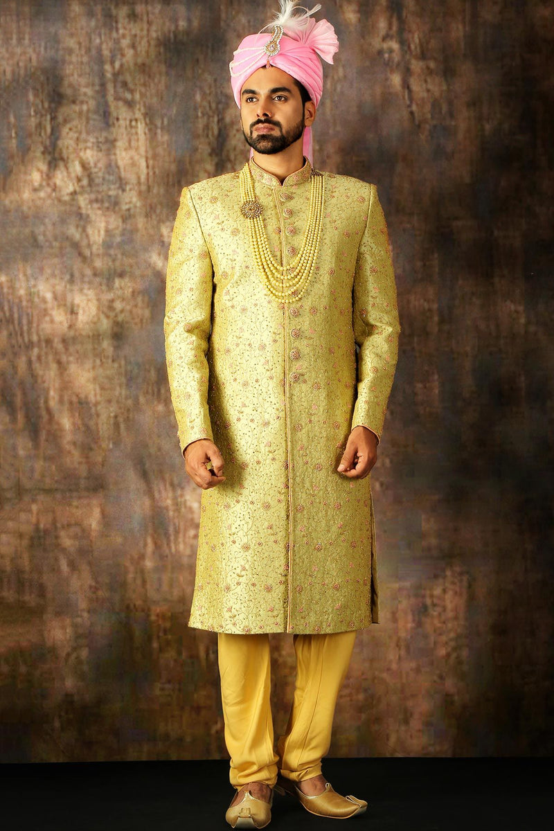 Green & Yellow Dual Tone Zari Embroidered Raw Silk Wedding Sherwani-STYLIZONE