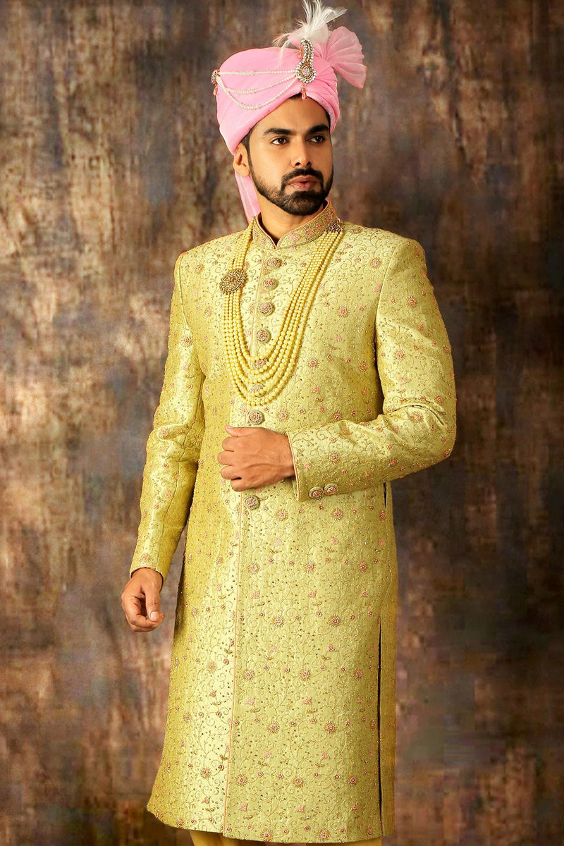 Green & Yellow Dual Tone Zari Embroidered Silk Wedding Sherwani-STYLIZONE