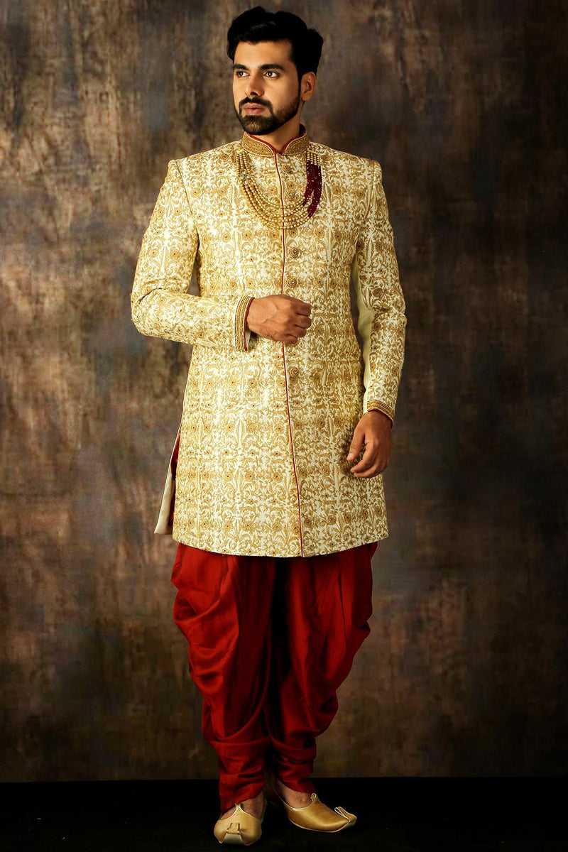 White & Gold Dori Embroidered Raw Silk Wedding Sherwani-STYLIZONE