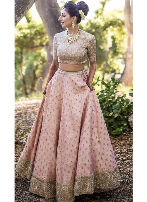 Exclusive Heavy Designer Beautiful Baby Pink Color Bridal Lehenga Choli - Stylizone
