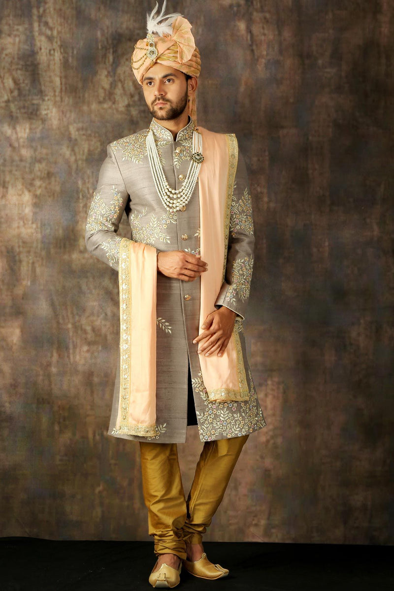Ash Grey Resham Embroidered Raw Silk Wedding Sherwani-STYLIZONE