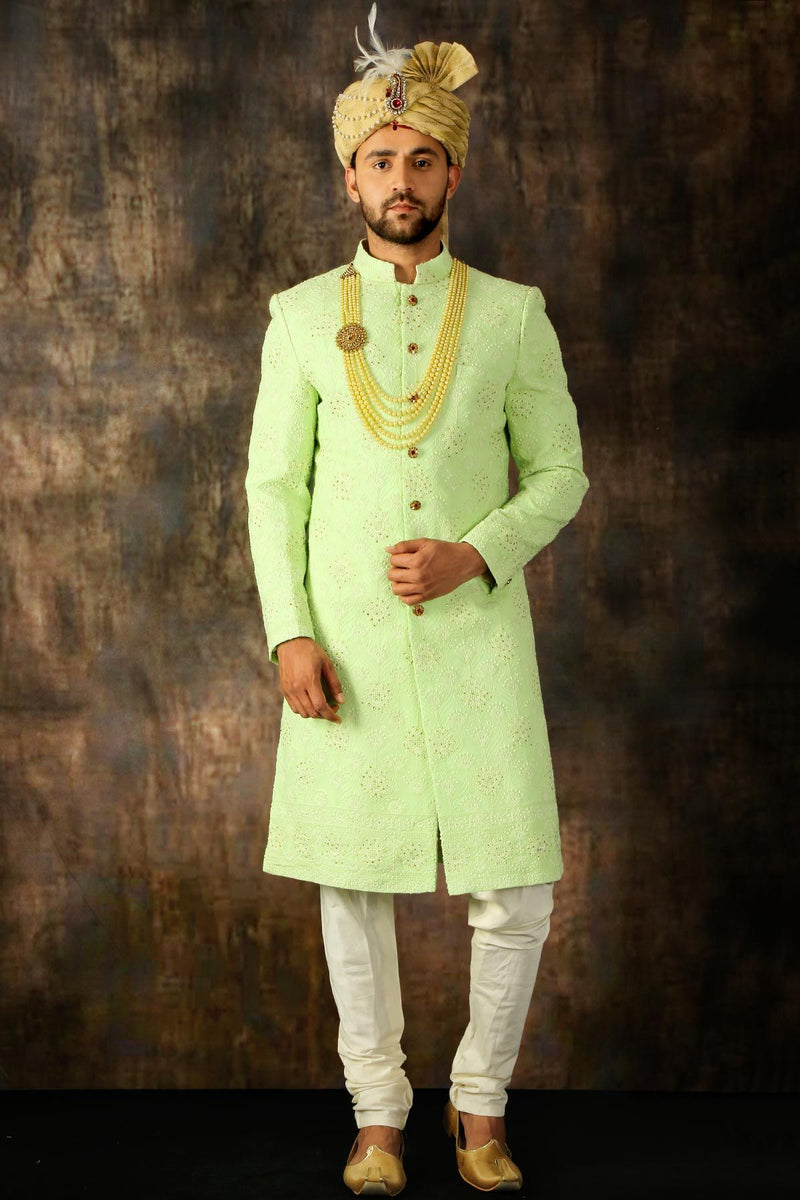 Neon Green Thread Embroidered Georgette Wedding Sherwani