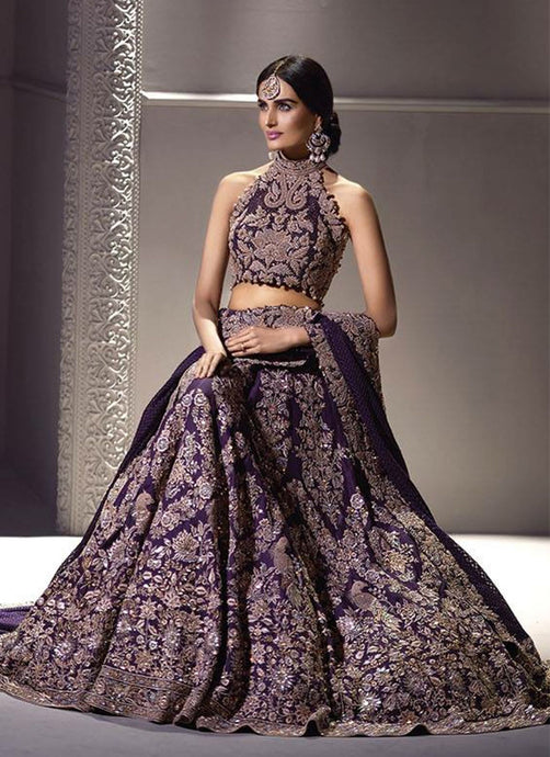 Exclusive Heavy Designer Beautiful Purple Color Bridal Lehenga Choli - Stylizone