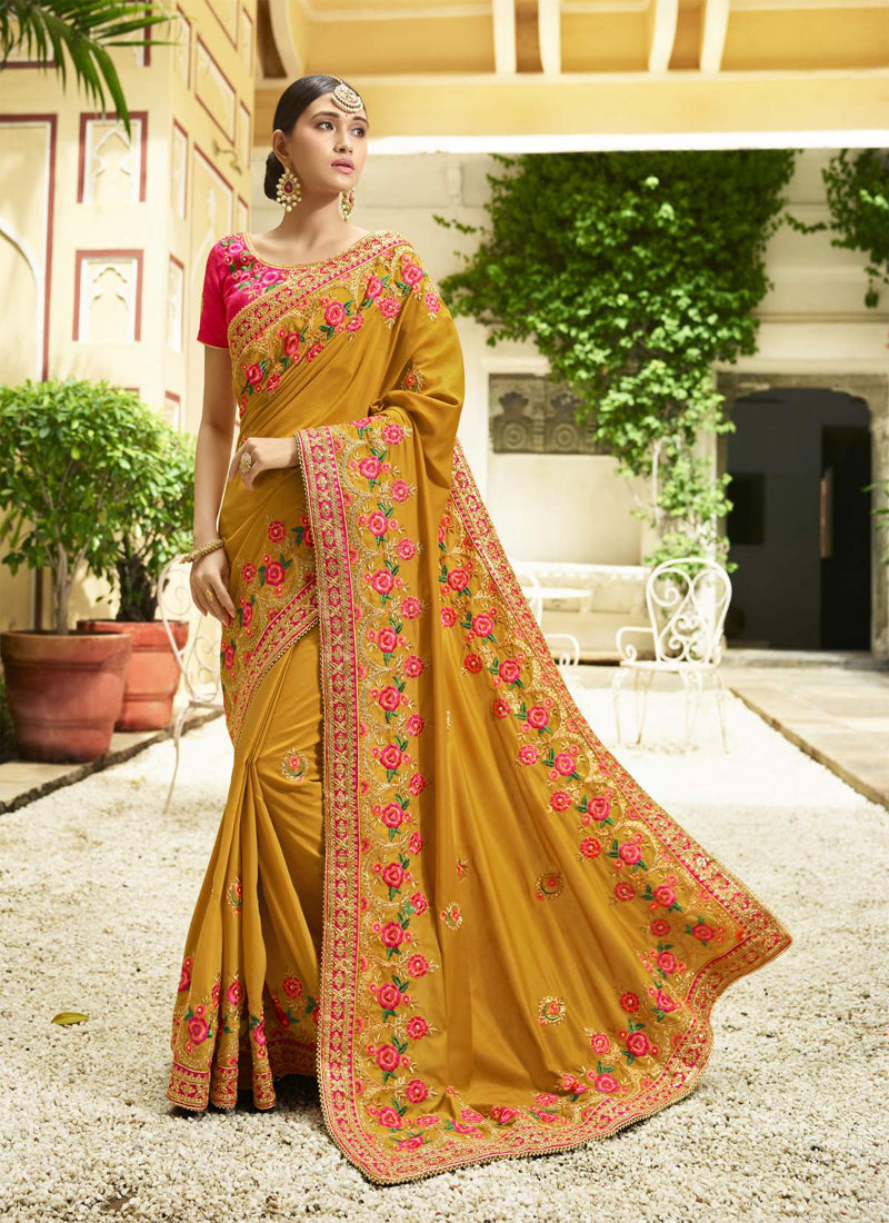 Exclusive Designer Musturd Yellow Color Party Wear Saree