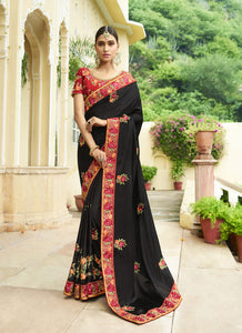 Exclusive Designer Black Color Party Wear Saree