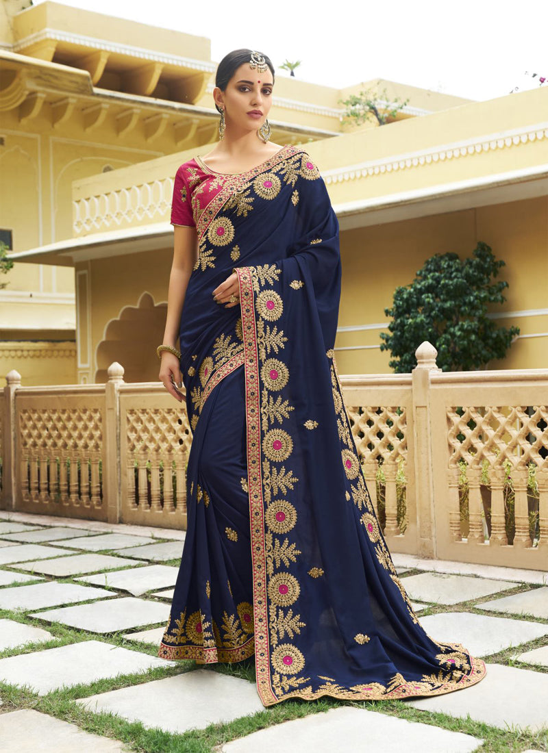 Exclusive Designer Navy Blue Color Party Wear Saree