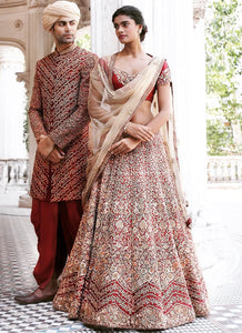A107-Exclusive Heavy Designer Beautiful Maroon Color Bridal Lehenga Choli - Stylizone