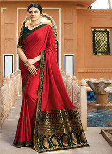 Exclusive Designer Red Color Party Wear Saree
