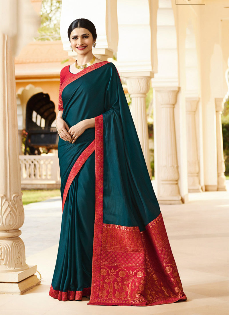 Exclusive Designer Dark Teal Blue Color Party Wear Saree