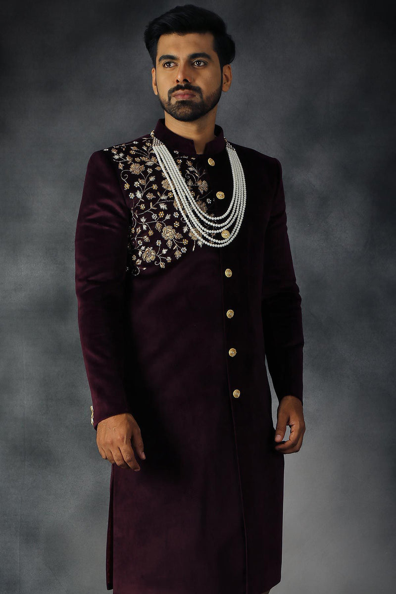Wine Velvet Zari Embroidered Indowestern Sherwani