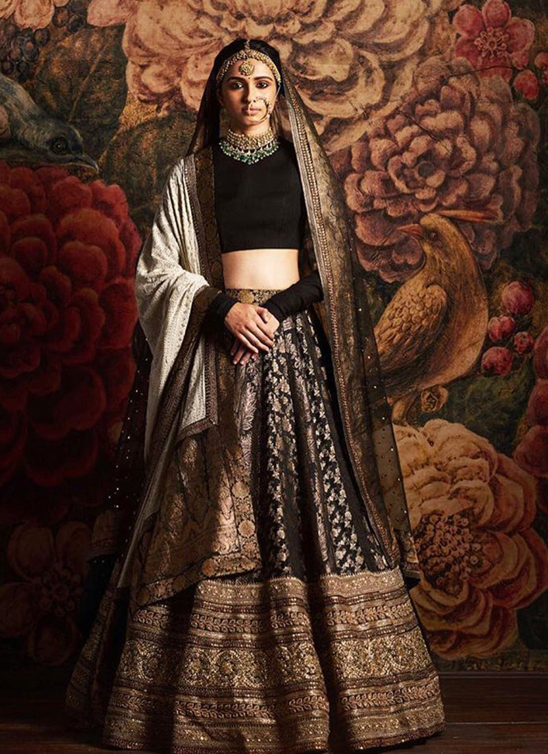 Exclusive Heavy Designer Beautiful Black Color Bridal Lehenga Choli - Stylizone