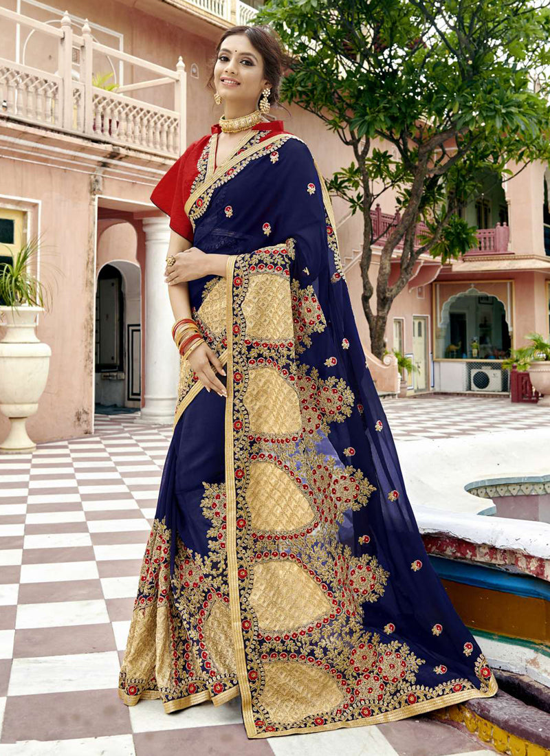 Exclusive Designer Dark Blue Color Party Wear Saree - Stylizone