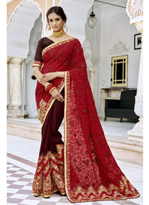 Exclusive Designer Red And Maroon Color Party Wear Saree