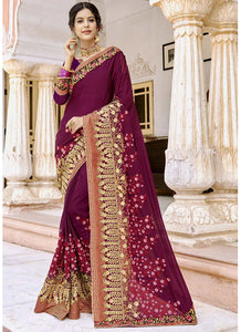 Exclusive Designer Magenta Pink Color Party Wear Saree
