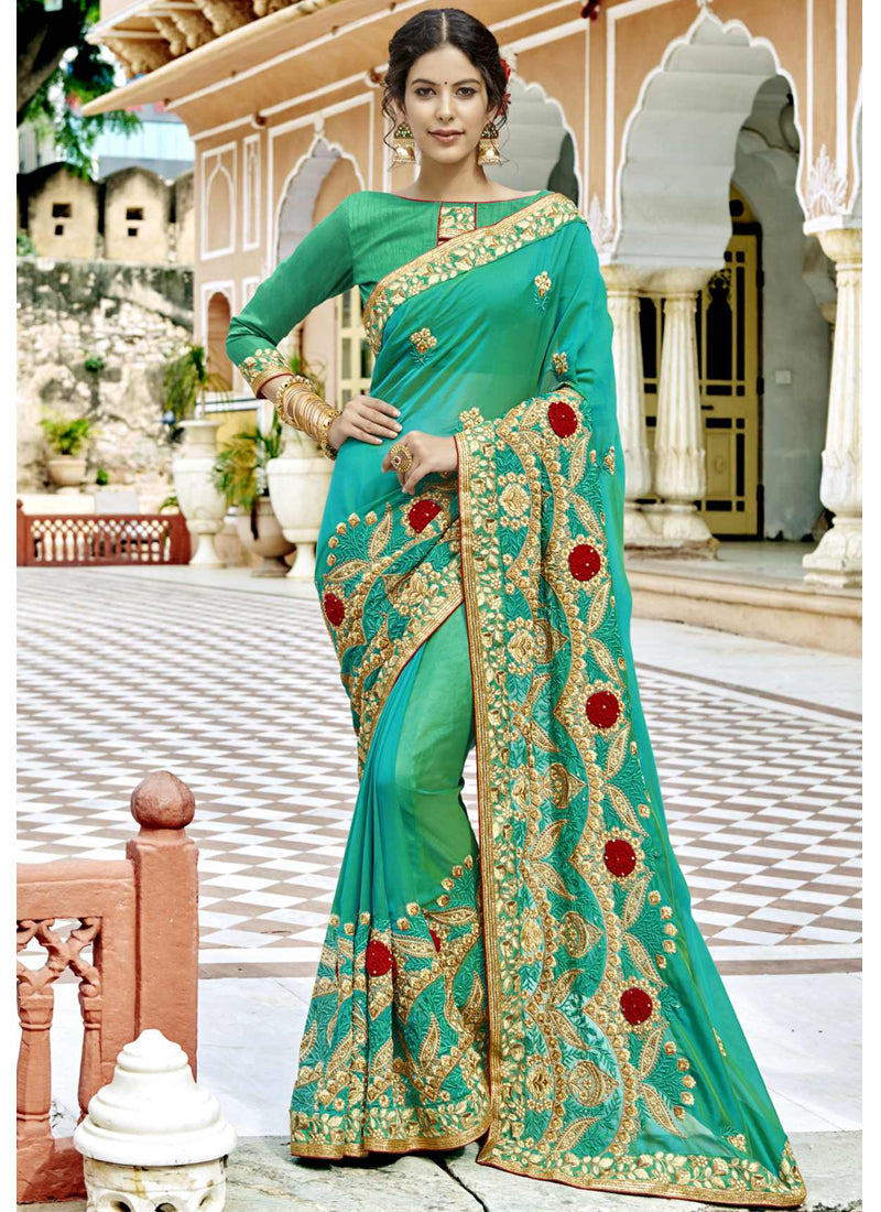 Exclusive Designer Green Color Party Wear Saree - Stylizone