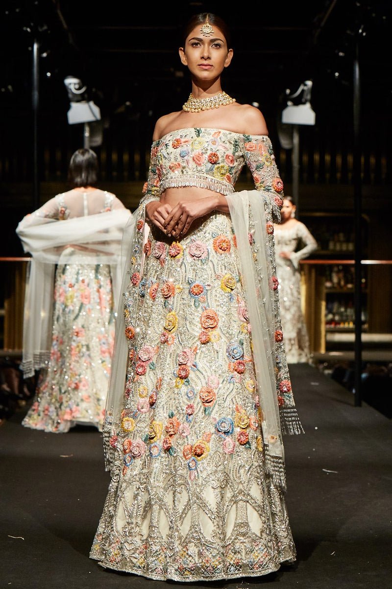 Exclusive Designer Ivory embellished lehenga set
