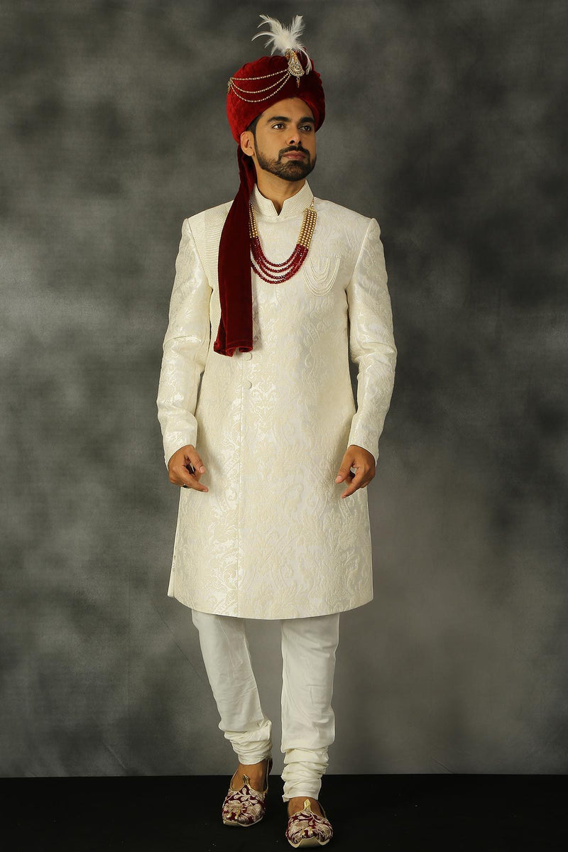 Snow White Pearl Embroidered Silk Wedding Sherwani-STYLIZONE