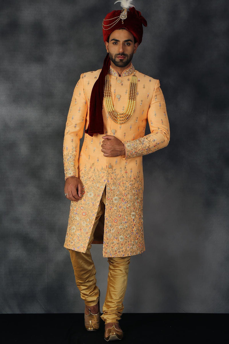 Light Orange Silk Resham Embroidered Wedding Sherwani-STYLIZONE