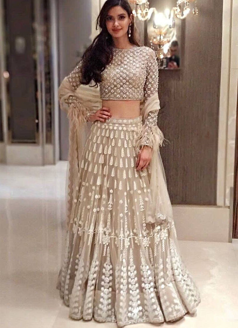 Exclusive Heavy Designer Beautiful Dull White Color Party Wear Lehenga Choli - Stylizone