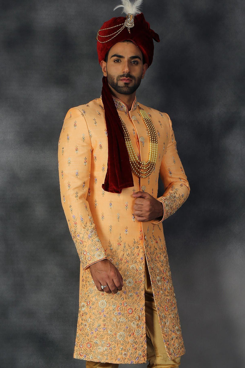 Light Orange Silk Resham Embroidered Wedding Sherwani