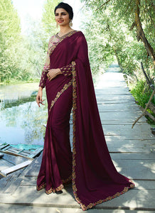 Exclusive Designer Beautiful Wine Color Party Wear Saree