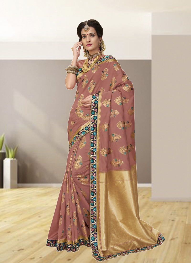 Exclusive Designer Dusty Pink Color Party Wear Saree - Stylizone