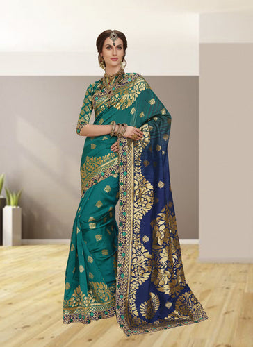 Exclusive Designer Beautiful Blue Color Party Wear Saree