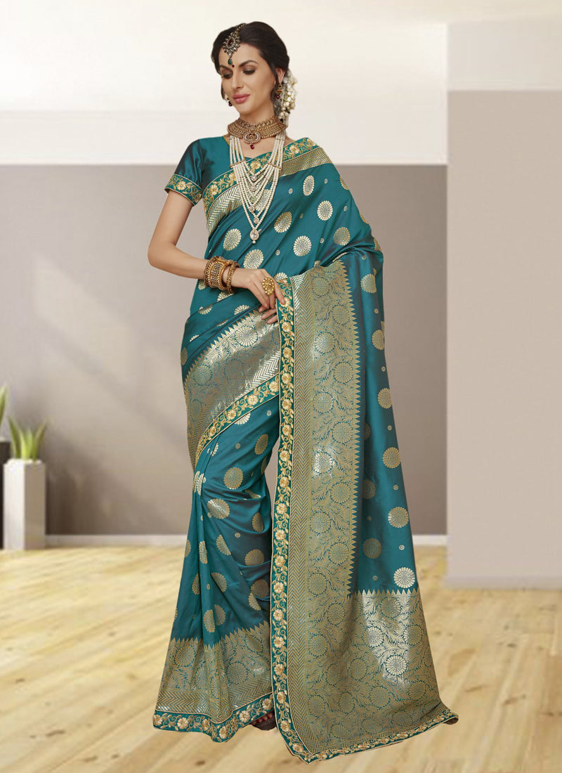 Exclusive Designer Turquoise Blue Color Party Wear Saree - Stylizone
