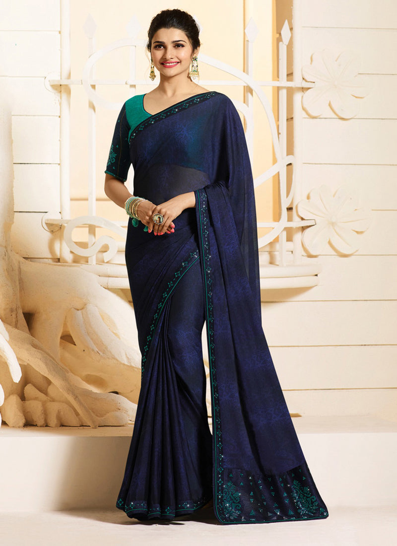 Exclusive Designer Navy Blue Color Party Wear Saree - Stylizone