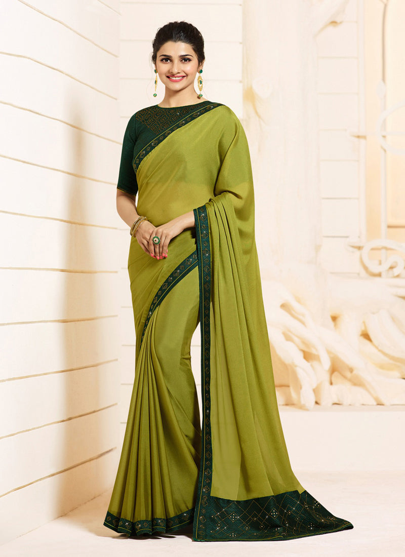 Exclusive Designer Pear Green Color Party Wear Saree - Stylizone