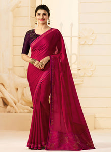 Exclusive Designer Rani Pink Color Party Wear Saree - Stylizone