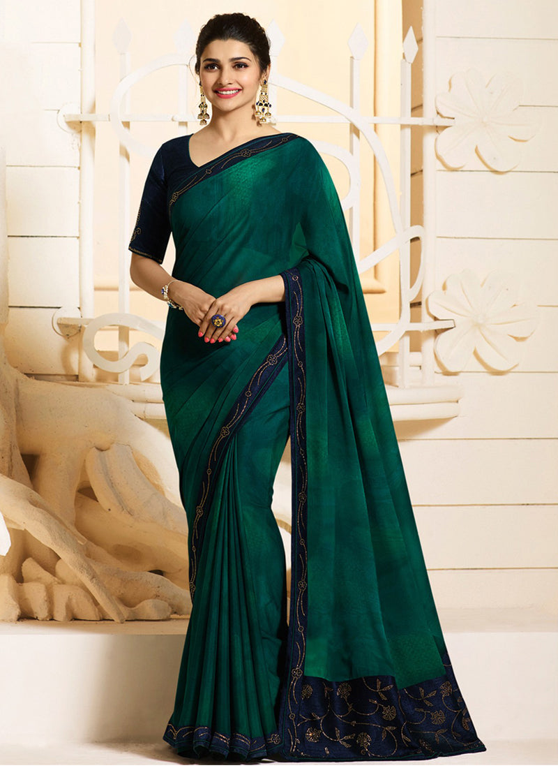 Exclusive Designer Beautiful Peacock Green Color Party Wear Saree - Stylizone