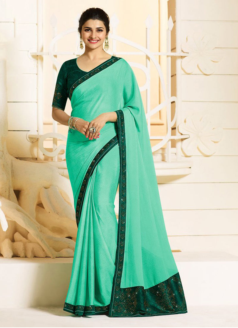 Exclusive Designer Beautiful Sea Green Color Party Wear Saree - Stylizone