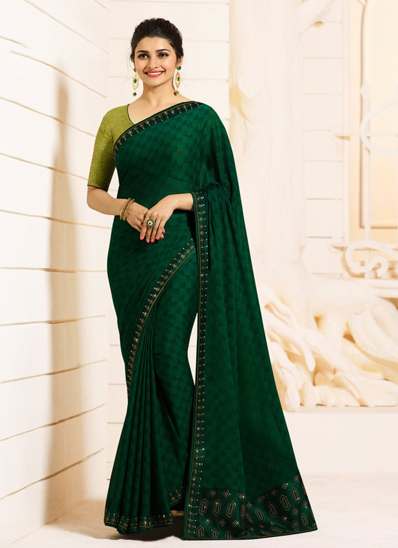 Exclusive Designer Dark Green Color Party Wear Saree - Stylizone