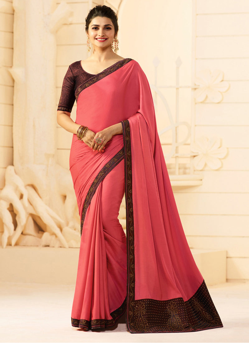 Exclusive Designer Beautiful Pink Color Party Wear Saree - Stylizone