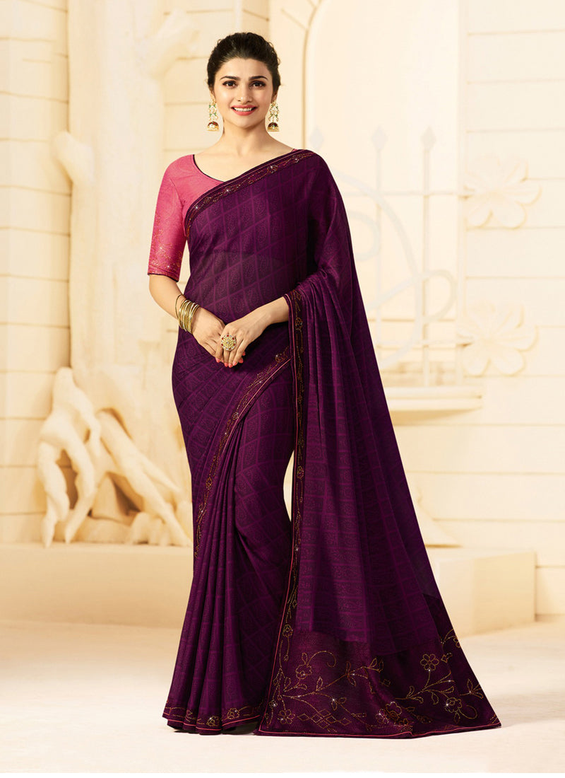 Exclusive Designer Beautiful Purple Color Party Wear Saree - Stylizone