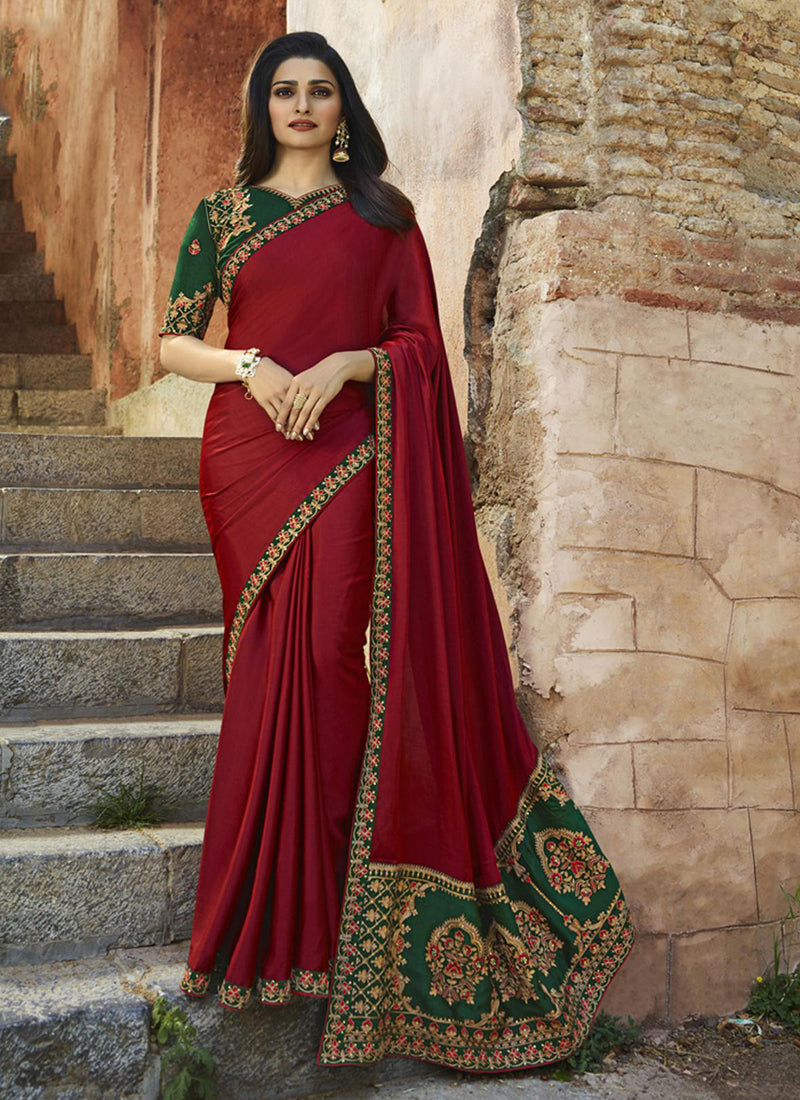 Exclusive Designer Beautiful Maroon Color Party Wear Saree - Stylizone